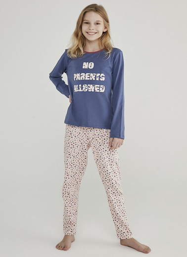 Penti Kız Çocuk Lacivert-Pembe Teen Leopard 2'li Pijama Takım PN2G228P20SK Mavi